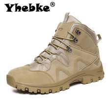 Yhebke Brand Men Autumn Shoes High Quality Outdoor Leather Desert Boots Comfortable Male Hiking Shoes Size 46 Men'S Winter Shoes(China)