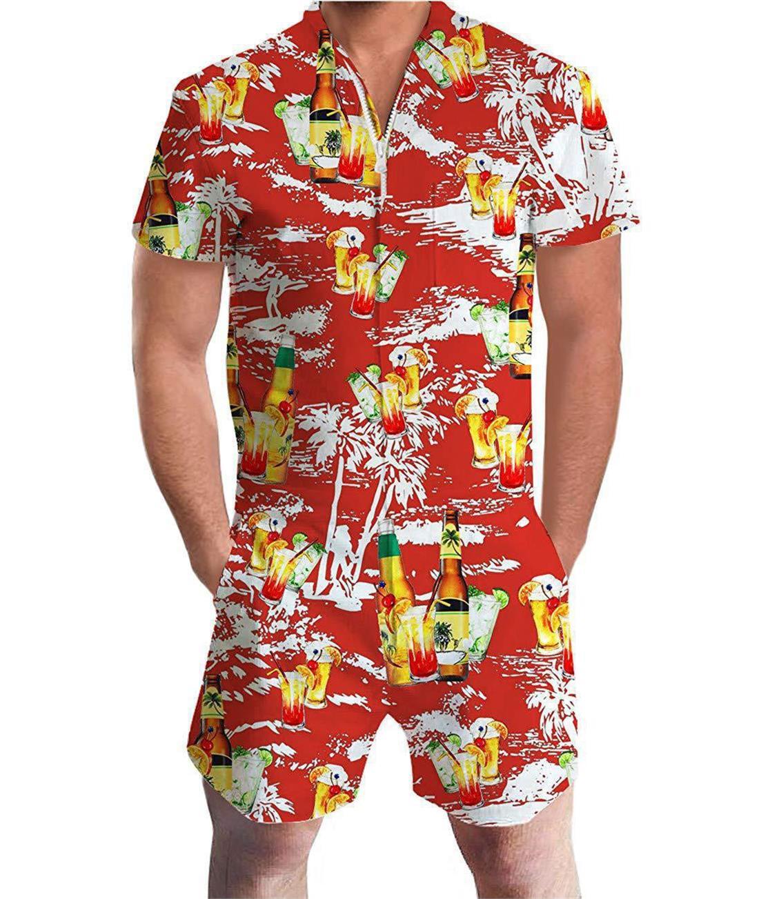 OLOEY Rompers Floral 3D Print Men Funny Jumpsuit Playsuit Male Harem Cargo Overalls Summer One Piece Beach Slim Fit Men's Sets