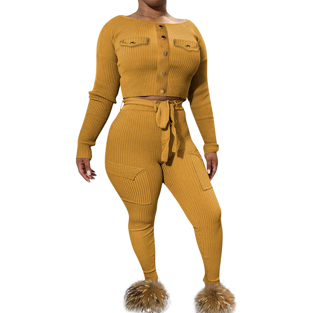 Echoine Autumn Women Knitted Rib Sexy 2 Piece Set Crop Top And Pencil Pants Matching Sets Outfit Bodycon Slim Club Tracksuit