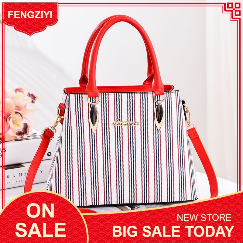 2019 New Fashion Bag for Women Pu Leather Women`s Shoulder/Crossbody/Messenger Big Striped Ladies Handbag bolsa feminina