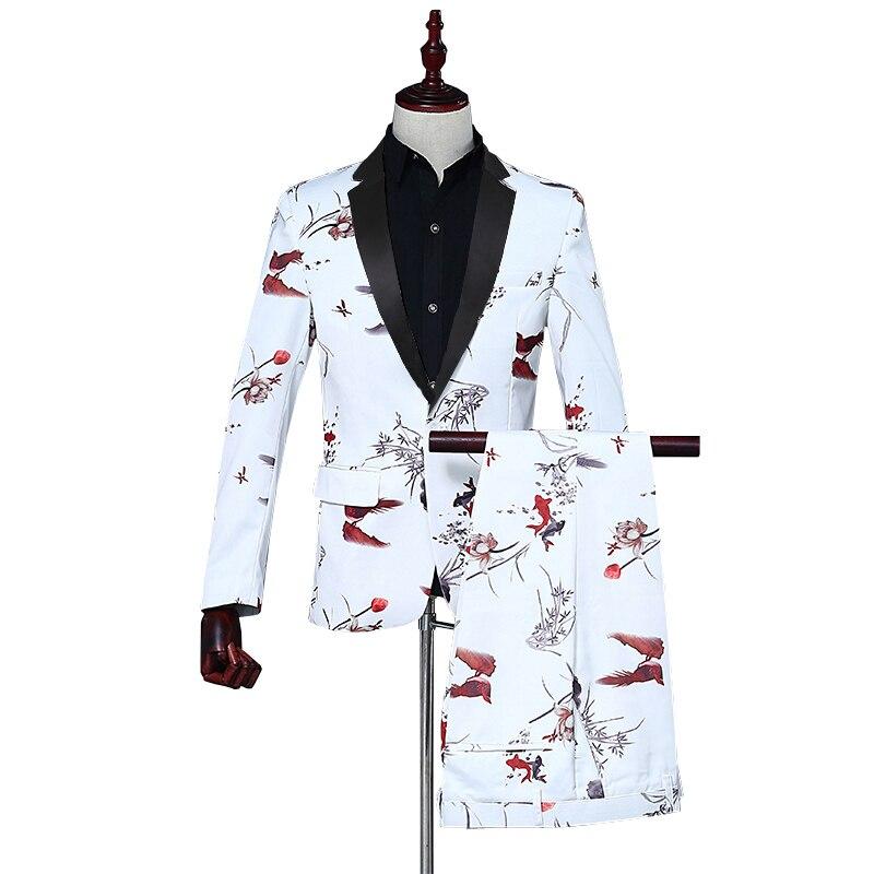 Fashion Men 2 Piece Suit Set (coat + Pant) Pisces Printing Black Satin Collar Lapel Dance Cocktail Party Casual Men's White Suit