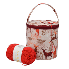 Knitting Yarn Crochet Round Storage Bag Knitting Needles Yarn Tote Organizer DIY Craft Woolen Basket Sewing Tool Bag tanie tanio CN(Origin) Yarn Storage Storage package Storage Rolls Bags polyester The bag is about 14cm in diameter and 15cm in height