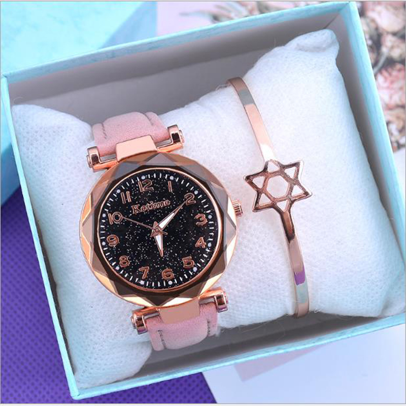 Luxury Starry Sky Women's Watches Fashion Ore Glass Dial Dress Woman Wrist Watch Belt Buckle Luminous Clock Montres Femmes