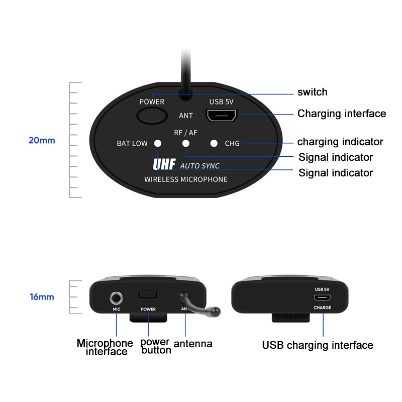 UHF Беспроводная микрофонная система мини петличный микрофон с корпусом портативный приемник и мини приемник для обучения лекции