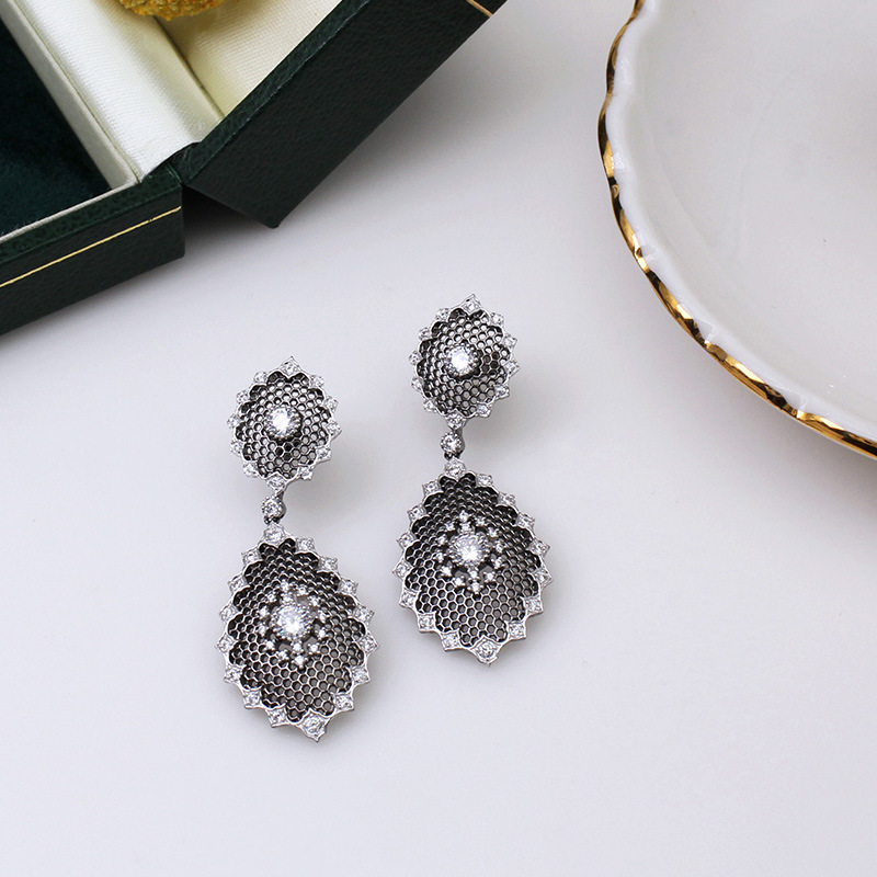 CMAJOR 925 Sterling Silver Vintage Honeycome Cutout Black White Studs Handmade Earrings for Women