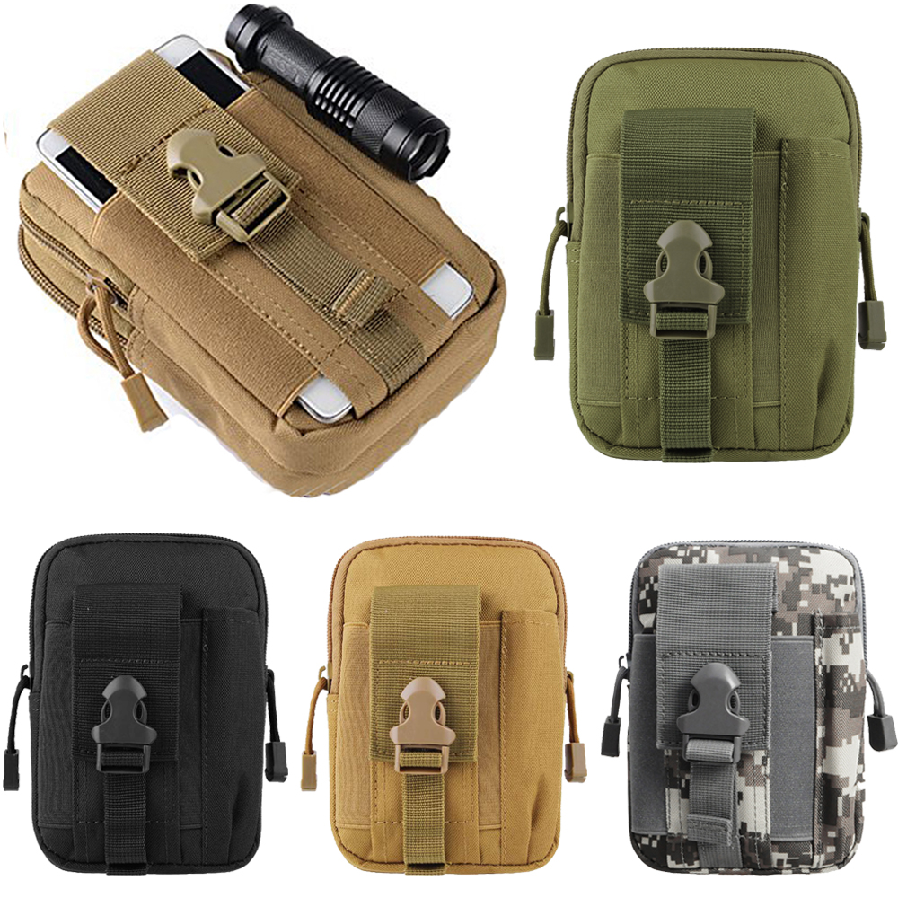 <font><b>Tactical</b></font> Universal Holster Military <font><b>Molle</b></font> Hip Waist Belt Bag Wallet Pouch Purse Phone Case with Zipper for Phone image