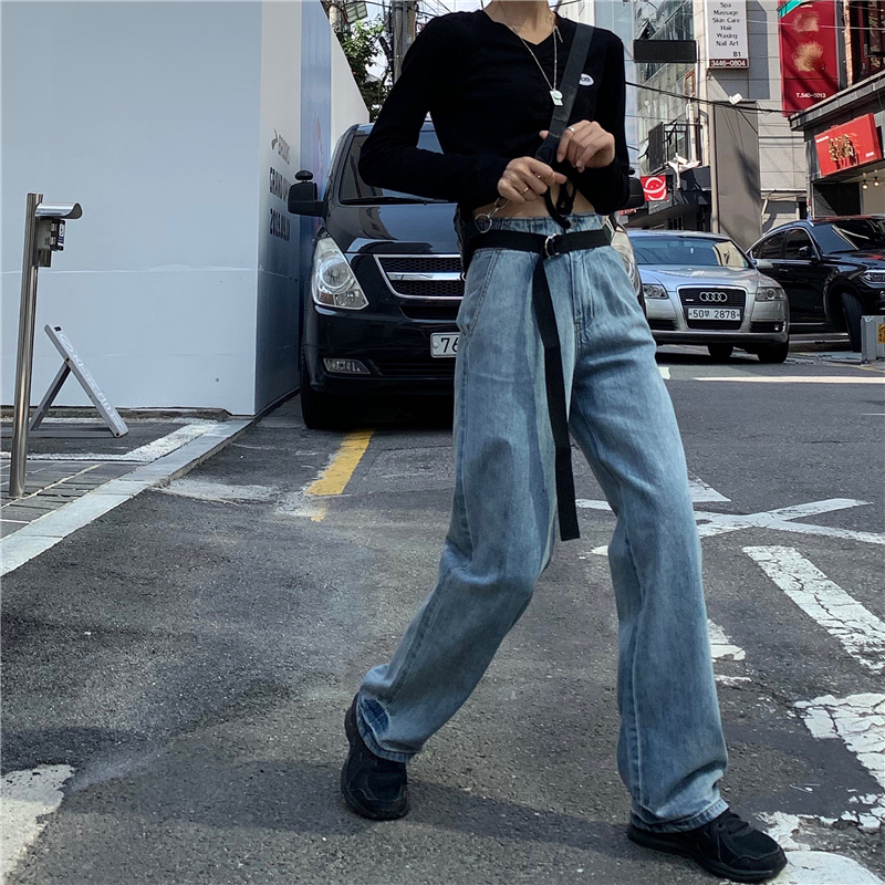 EAD 2020 Spring And Autumn New Loose High Waist Jeans Women Were Thin Korean Casual Wide Leg Pants Trousers Blue Large Size