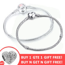 BUY 1 GET 1 FREE 2019 Pink Enamel Cherry Blossoms Flower Clip Snake Bracelet for Women Jewelry Making 3mm Pandora Bracelets(China)