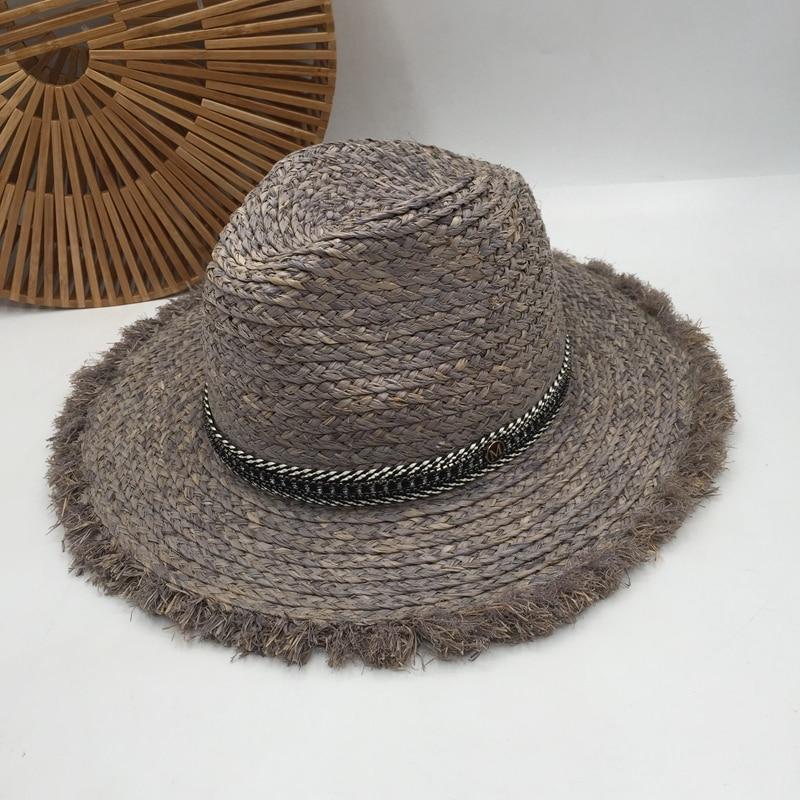Seaside Holiday Sunshade Hat Grey British Female Lafite Grass Retro Jazz Big Hat Brim Sun Hat In The Summer