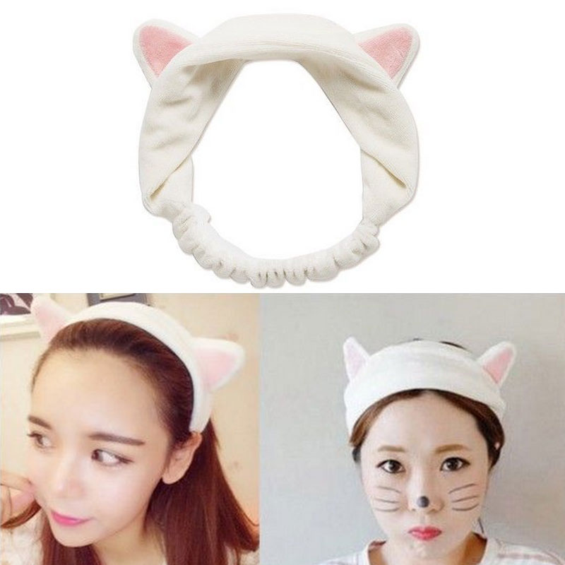 Cute Cat Ear Headband Soft Bath Wash Makeup Hairband For Makeup Shower Washing Face Head Wrap Elastic Headwear Tool