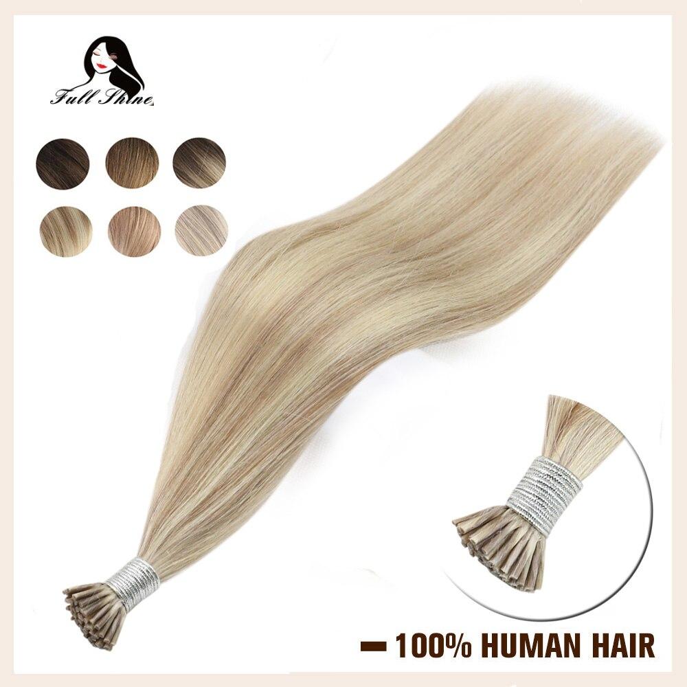 Brilho completo bayalage cor eu ponta extensões de cabelo 50g máquina remy extensões de cabelo humano piano cor keartin cápsula fusão
