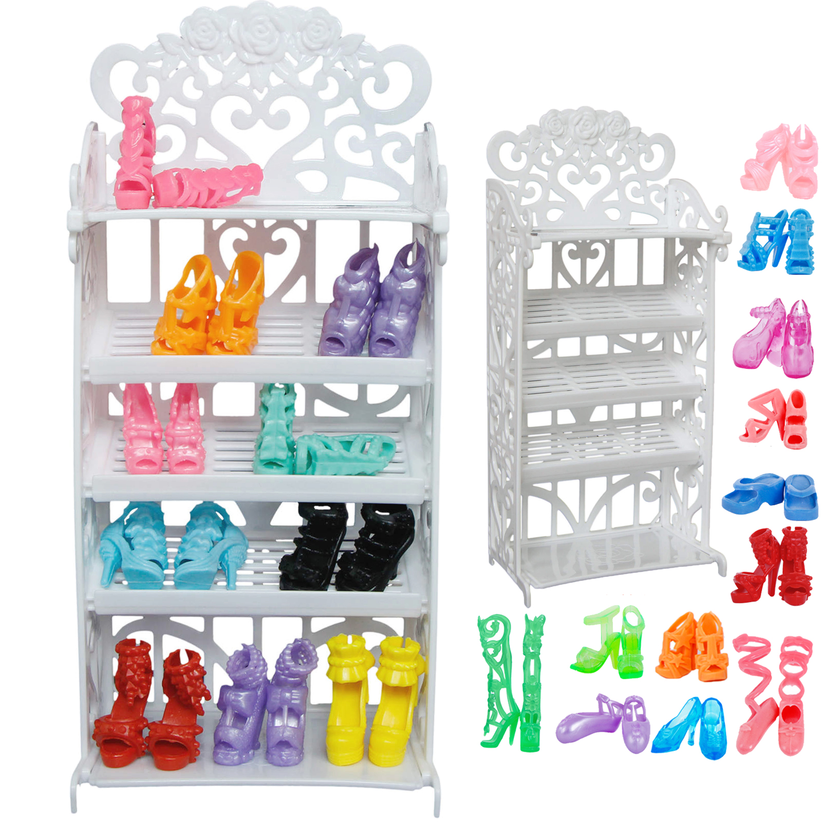 1x Plastic White Doll Shoes Rack / Random 12 Pairs Shoes Dollhouse Furniture Accessories For Barbie Doll Kids Toy