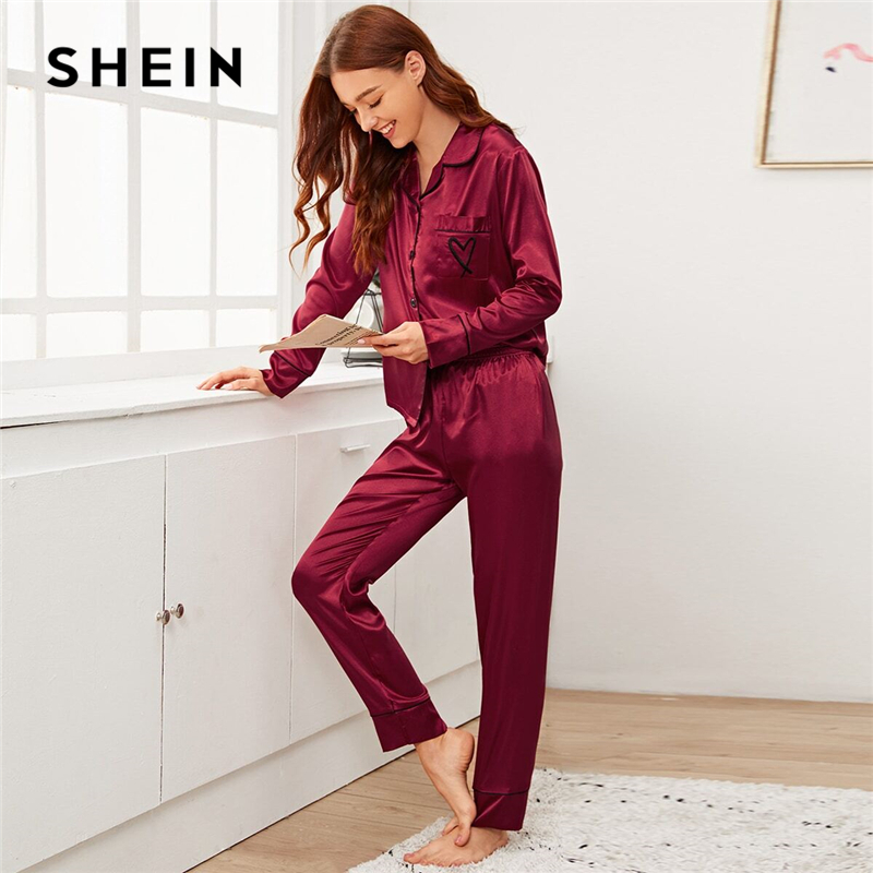 SHEIN Burgundy Notched Collar Heart Embroidery Satin PJ Set Women Sleepwear Spring Long Sleeve Button Front Elegant Pajama Sets