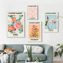 Toile d'art avec fleurs et plantes, peinture nordique, affiches et imprimés de Paris, de londres, de Tokyo, images murales pour décor de salon