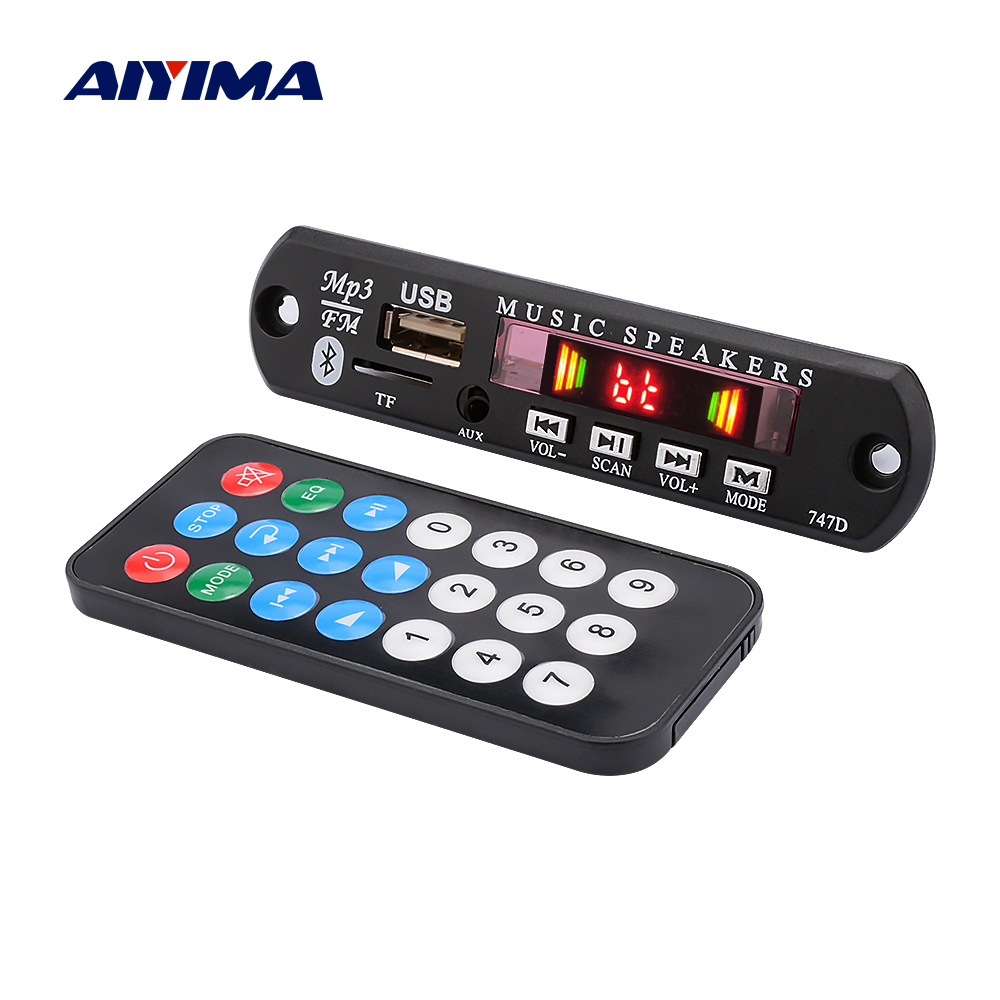 AIYIMA DC12V Bluetooth MP3 Decoder Audio Board USB TF FM AUX Recording Decoding Bluetooth Hands-free Calling For Amplifier DIY