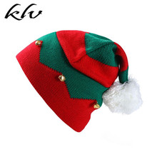 Toddler Kids Christmas Knitted Elf Hat with Small Bells Contrast Color Wavy Stripes Crochet Pompom Santa Cap Party Supplies