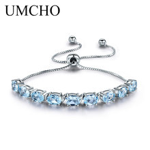 все цены на UMCHO 9ct Natural Sky Blue Topaz Aquamarine 925 Sterling Silver Chain Link Bracelets For Women Fine Jewelry Adjustable Bracelet онлайн