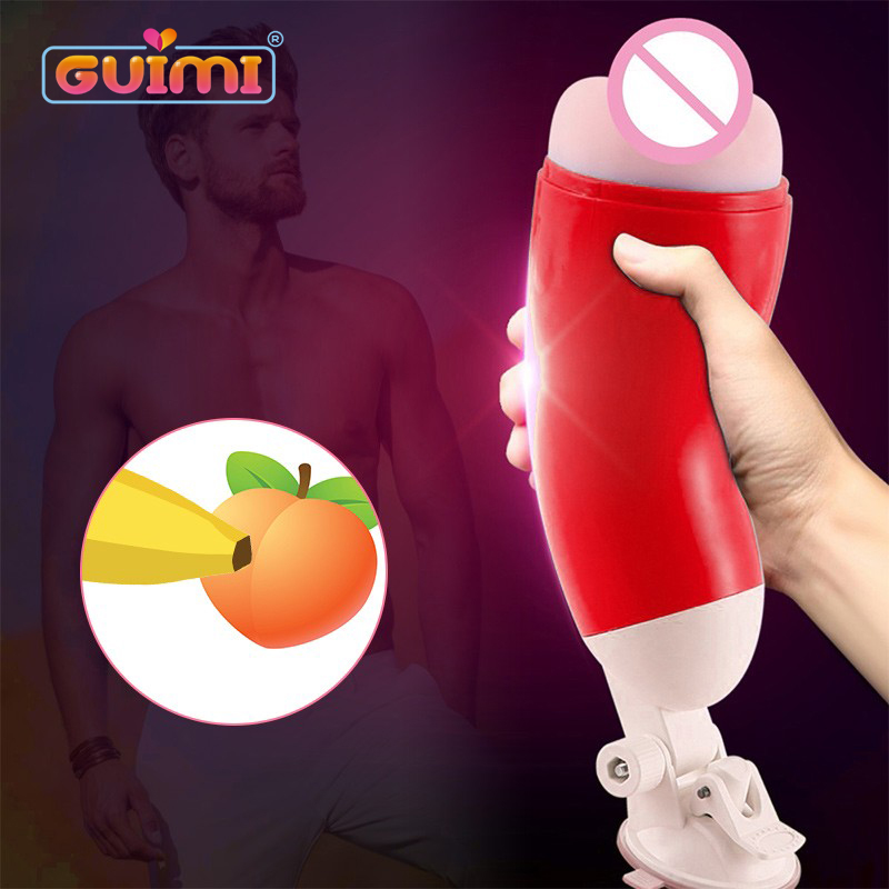 Real Pussy Aircraft Cup Male Masturbator Silicone Blowjob Masturbation Cup Hands Free Realistic Soft Vagina Sex Toys For Men