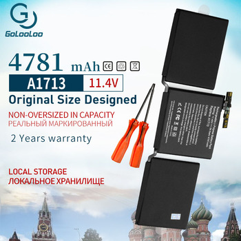 Golooloo 11.4V 4781mah A1713 laptop Battery For Apple MacBook Pro 13'' A1708 2016 MLL42CH/A MLUQ2CH/A with Tools