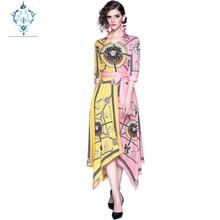 купить CUERLY women retro V-neck half sleeve Irregular dress 2019 new fashion baroque print Contrast stitching lace up summer dresses по цене 2506.9 рублей
