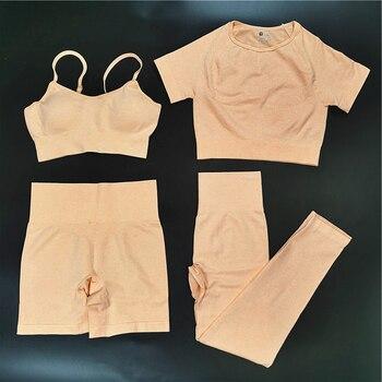4PCS Seamles Sport Set Women Purple Two 2 Piece Crop Top T-shirt Bra Legging Sportsuit Workout Outfit Fitness Wear Yoga Gym Sets 19