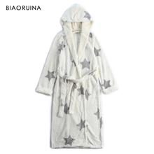 BIAORUINA Womens Coral Fleece Pentagram Printed Thick Warm Winter Long Hooded Robe Female Comfortable Plushed Robes Wieh Sashes