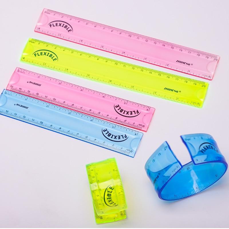 1PCS 15/20cm Soft Straight Ruler Creative Students Measurement Ruler Curling Folder Straight Ruler Color Random