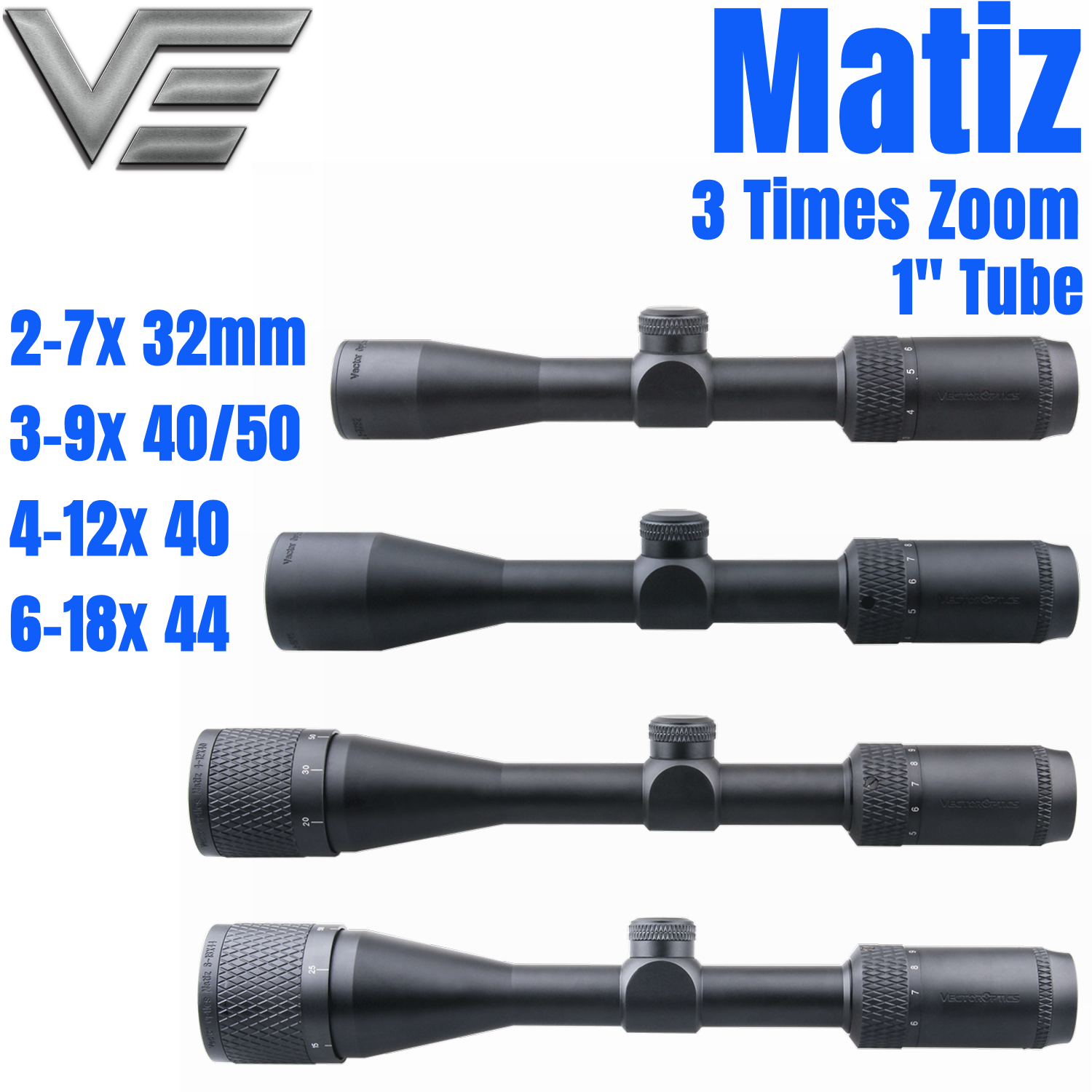 Vector Optics Matiz 1 Inch 2-7x32 3-9x40 4-12x40 6-18x44 AO 1/4 MOA Vamint Shooting Huting Rifle Scope Riflescope