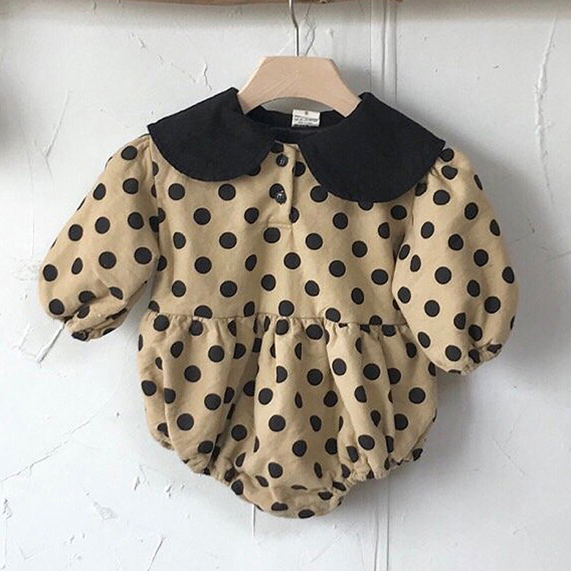 2020 Baby Girl Bodysuits Baby Letters Velvet One-Piece Wave Point Sweater 0-2Yrs Girls And Boys Fashion Loose Baby Bodysuit 4