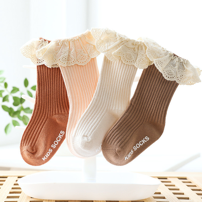 Lawadka-calcetines de encaje para bebé recién nacido, antideslizantes, de algodón, largos, para otoño e invierno, 2020