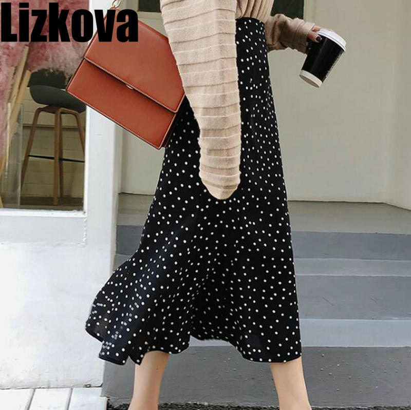 2020 Spring Summer Black Polka Dots Chiffon Skirt Korean Style Women High Waist Mermaid Skirt Elegant Midi Skirt