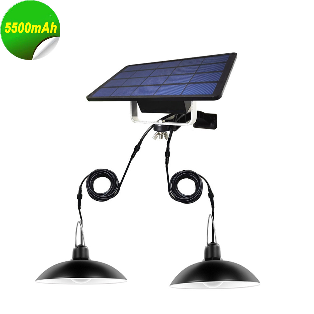 Double Heads LED Solar Lamp Outdoor Indoor Emergency Light With 3M Extension Cord Waterproof For Camping Terrace Tent Chandelier