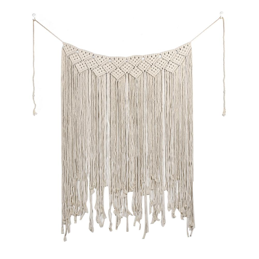 HobbyLane Macrame Wedding Ceremony Backdrop Curtain Wall Hanging Cotton Handmade Wall Art Home Decor 45.2*53in