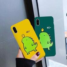 Super Cute Cartoon Dinosaur Phone Case For iphone 7 6 6S 8 Plus Couple Dragon Soft Back X XR XS MAX Cover