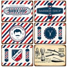 Barbershop Cafe carteles de decoración Vintage arte colgante pinturas en hierro salón de pelo interior pegatinas de pared de estaño placas señales Retro