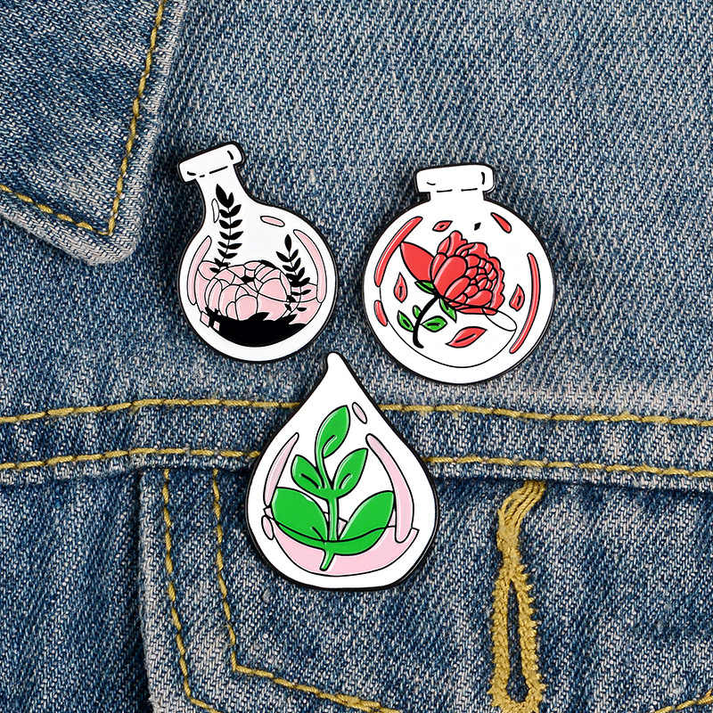 Cartoon Badges Cute Glass Bottle Flower Brooches for Women Rose Green Plant Pins Jewelry Enamel Pin Bag Clothes Accessories Gift