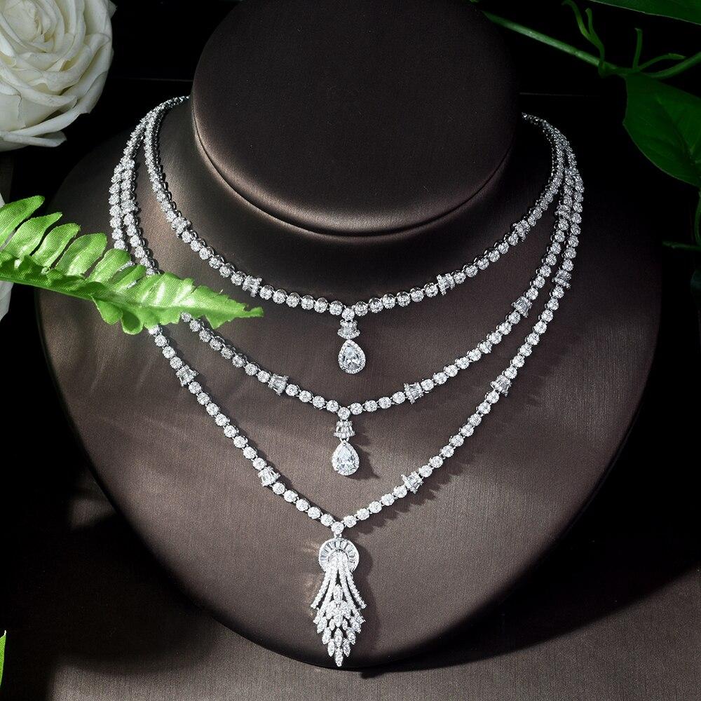 HIBRIDE Vintage circón cúbico 4 piezas conjunto de joyas piedra brillante grande nupcial boda joyería conjunto bijoux mariage parure N 1122 - 4