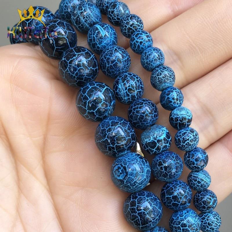 "6-8-10mm black Dream Fire Dragon Veins Agate Round Gems Loose Beads 15/"""