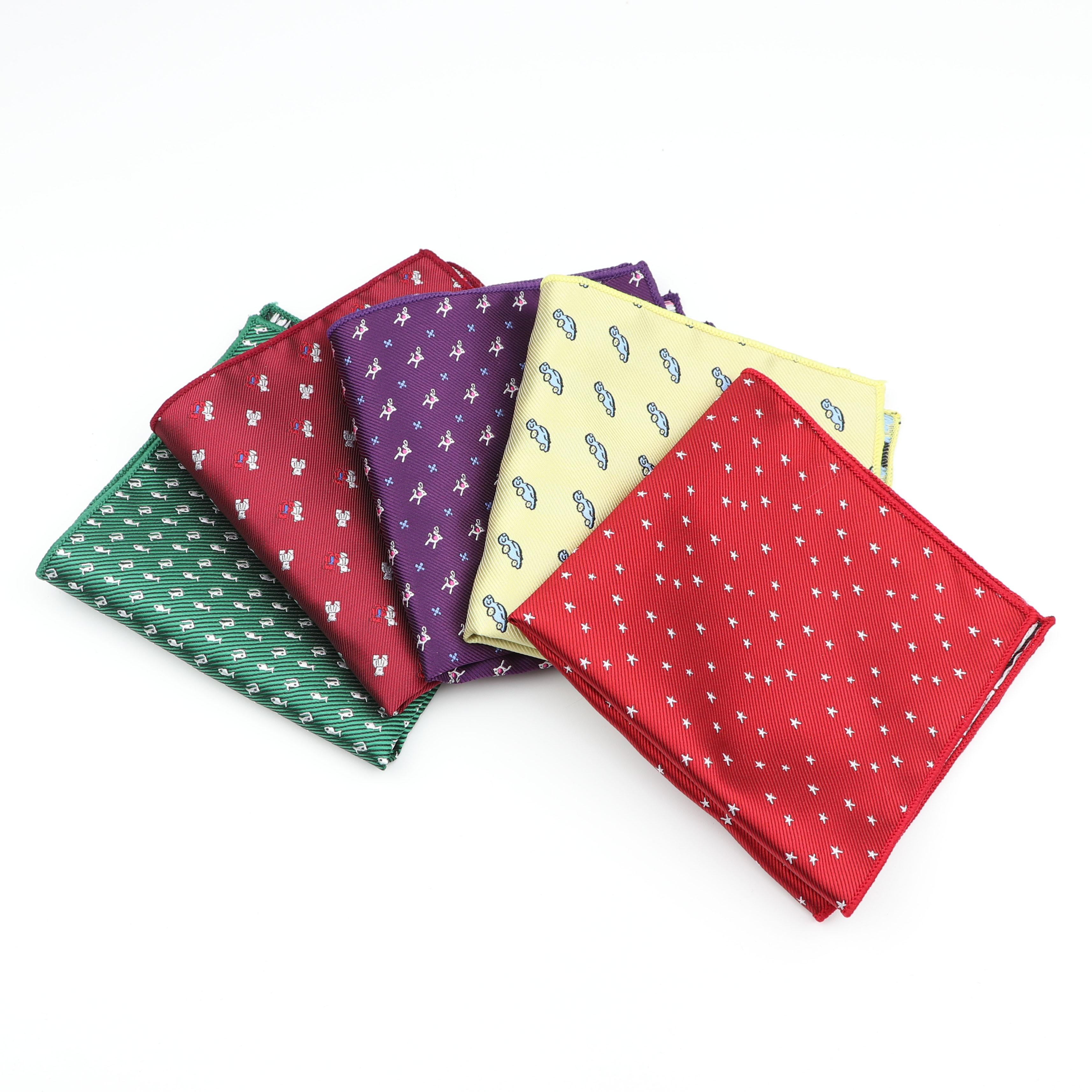 Polyester Handkerchief Scarves Vintage Fabric Hankies Umbrella Star Car Fish Pocket Square 1200 Needles Handkerchiefs 23*23cm