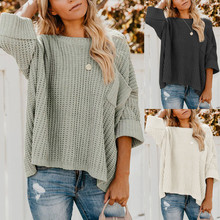 Womens Sweater Autumn Solid Off Shoulder Pocket Knitted Women Knitwear Casual Fashion Long Sleeve Tops
