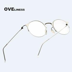 Image 1 - 純チタンレトロラウンドメガネフレーム女性男性 2020 光学コンピュータ眼鏡近視処方透明ガラス眼鏡
