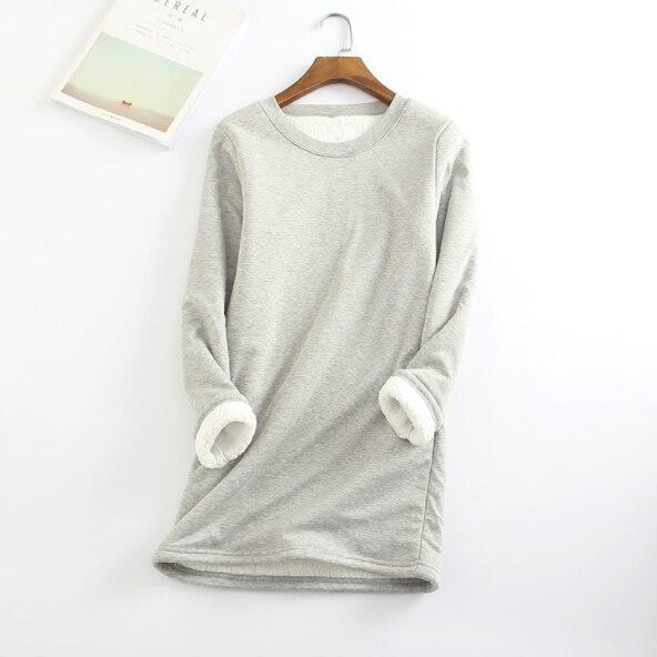 Nuovo Autunno Inverno T Shirt Donne Addensare Più di Velluto Maglietta Delle Donne di Toccare Il Fondo Caldo di Lana di Agnello Tee Shirt Femme Donne Lunghe magliette e camicette AQ929