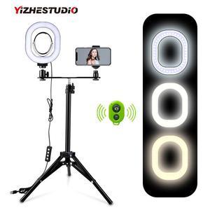 Image 1 - Yizhestudio 2 في 1 خاتم إضاءة ليد طقم الإضاءة صور مصباح للفيديو لايف يوتيوب Selfie مصباح مع بلوتوث ترايبود الهاتف عقد