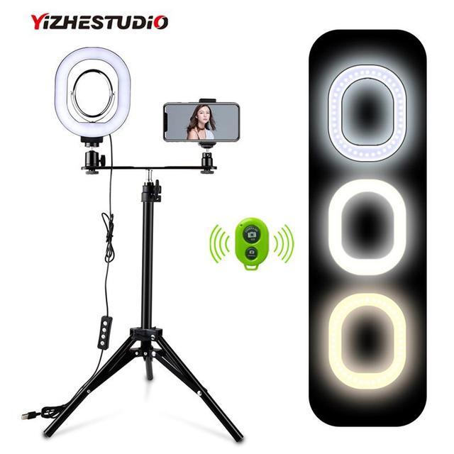 Yizhestudio 2 في 1 خاتم إضاءة ليد طقم الإضاءة صور مصباح للفيديو لايف يوتيوب Selfie مصباح مع بلوتوث ترايبود الهاتف عقد