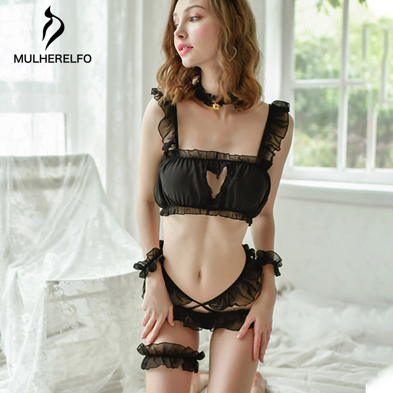 Sexy Black Lace Ruffles Lingerie Set Women's Chest Heart Hollow Chiffon Mesh Pajamas Women's Temptation Uniform Home Sleepwear
