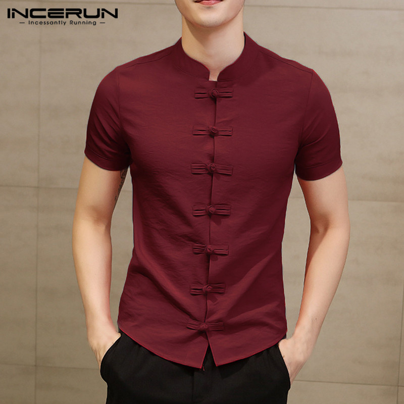 INCERUN Chinese Style Traditional Shirt Men Short Sleeve Vintage Elegant Shirt Solid Color Slim Men Casual Dress Shirts Chemise