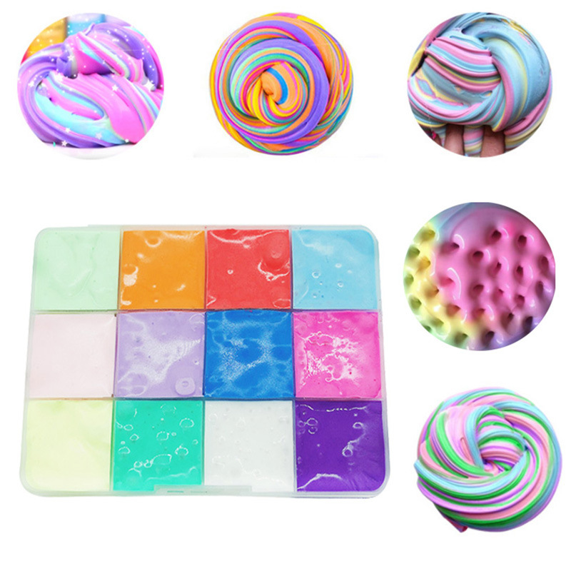 New Multicolor Fuffly Platter Soft Cotton Slimes For Diy Puzzle Box Modeling Clay Charms Snow Mud Slime Interactive Kids Toy Set