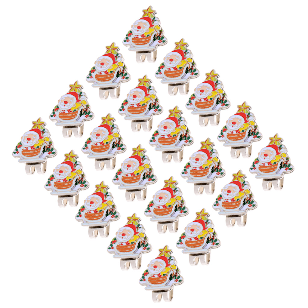20 Pieces/Set Santa Claus  Hat Clip Golf Ball Marker Christmas Gifts