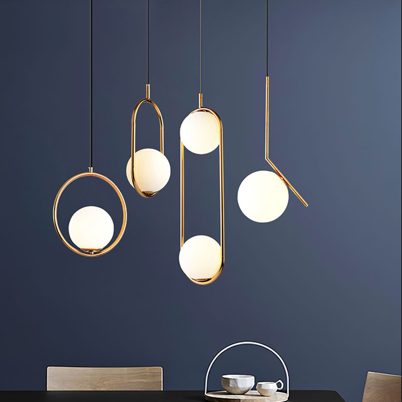 Nordic Glass Ball Pendant Lights Lighting Industriel Hanging Lamp Lustre Luxury Glod Art Kitchen Hotel Hoop Decor Pendant Lamp