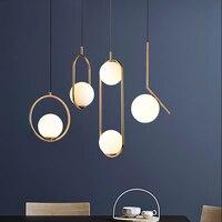 Nordic luzes pingente bola de vidro iluminação industriel lâmpada pendurada lustre luxo glod arte cozinha hotel hoop decoração pingente lâmpada|Luzes de pendentes| |  -